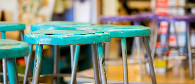 Painted classroom stools