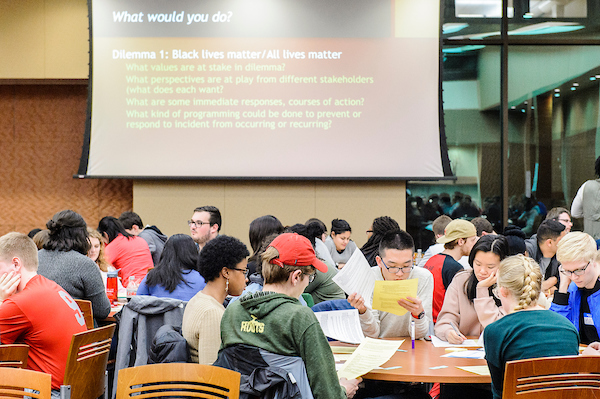 Students take part in a diversity and inclusion training session run by Steve Quintana, professor of counseling psychology at the University of Wisconsin-Madison, in the Gordon Dining and Event Center on Feb. 20, 2017. Quintana is a recipient of a 2017 Distinguished Teaching Award.
