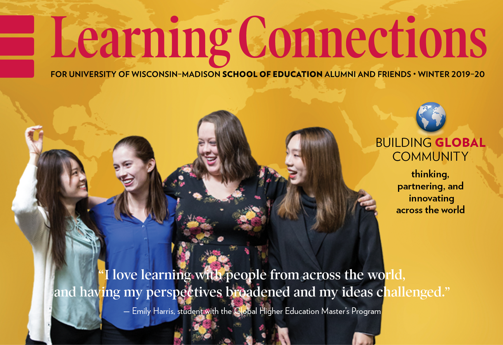 "learning connections magazine cover showing global higher education students and a bit of text saying ""Building global community"""
