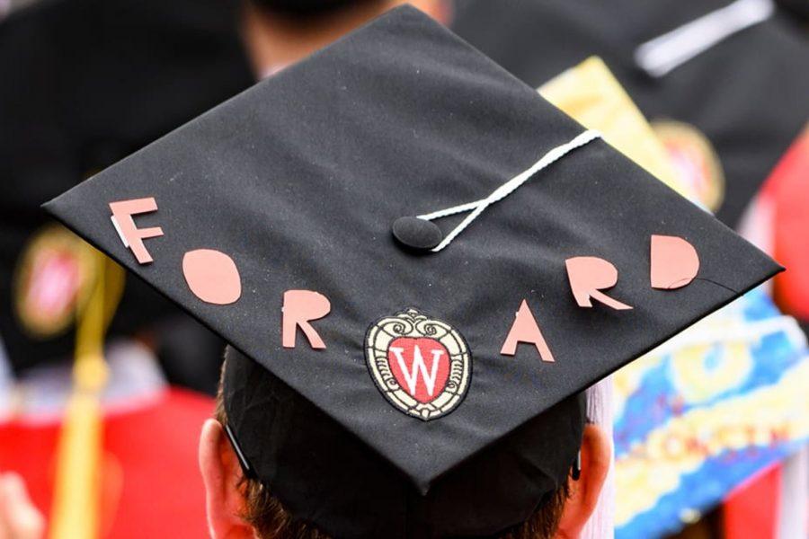 uw madison student graduation cap that says