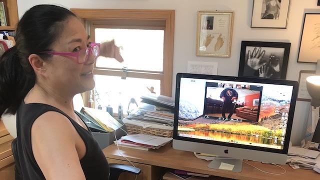 Li Chiao-Ping teaching dance from home