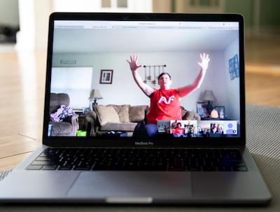 Autumn Nuegent participates in chair yoga online