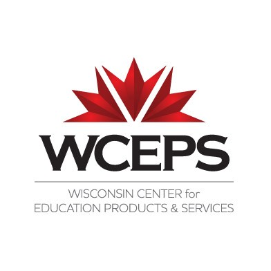 WCEPS logo. Red and black. Wisconsin Center for Education Productions & Services