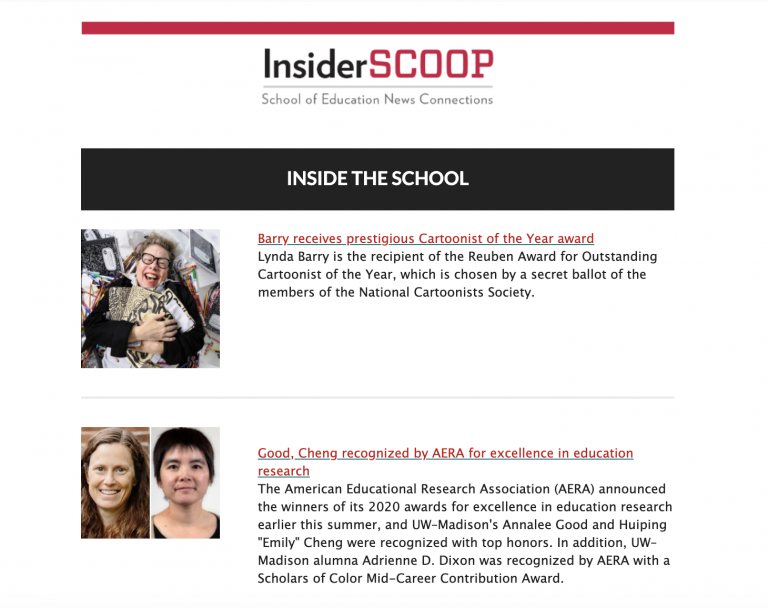 screenshot of Inside Scoop newsletter