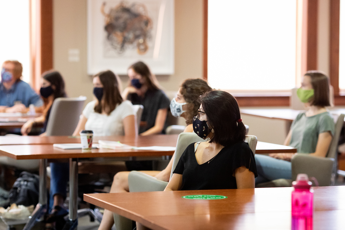 An educational psychology class listens to a lecture by Elizabeth Hagermoser in the Education Building's Wisconsin Idea Room