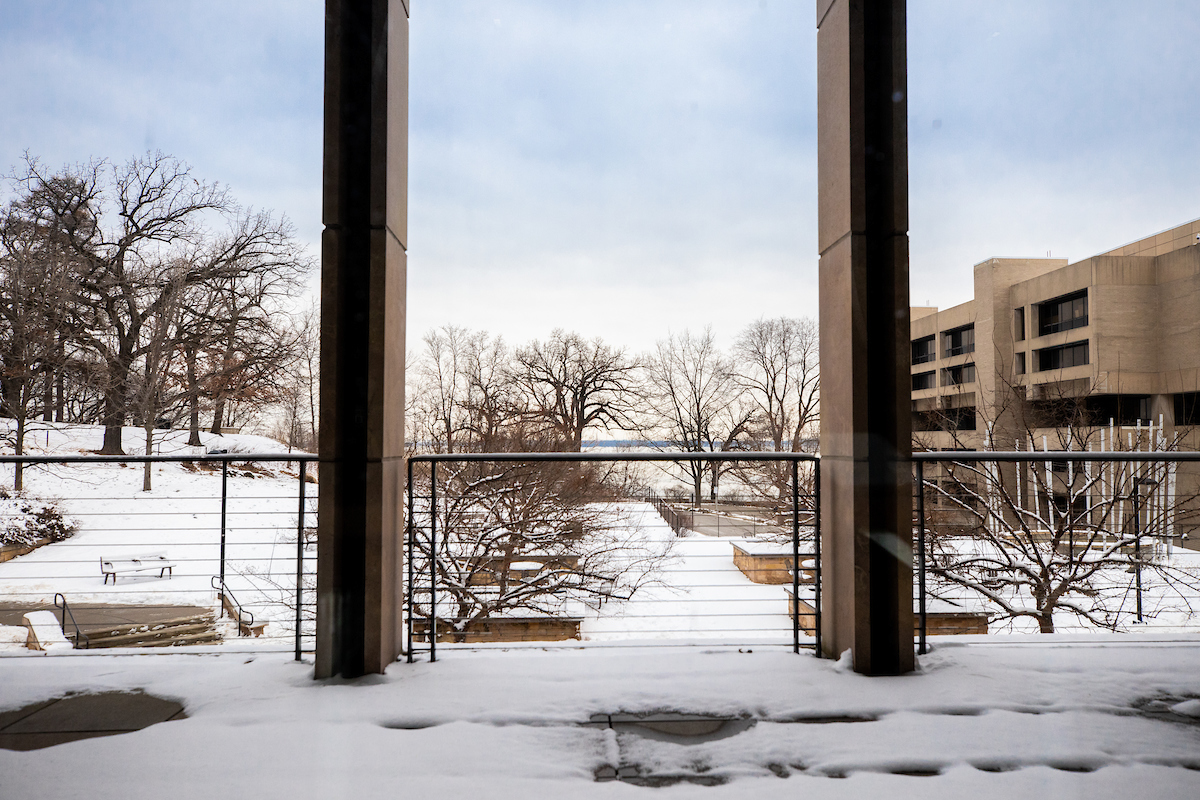 view of the snowy terrace of the education building looking out on lake mendota