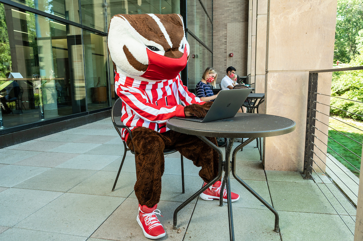 Bucky on the terrace of the Education Building.