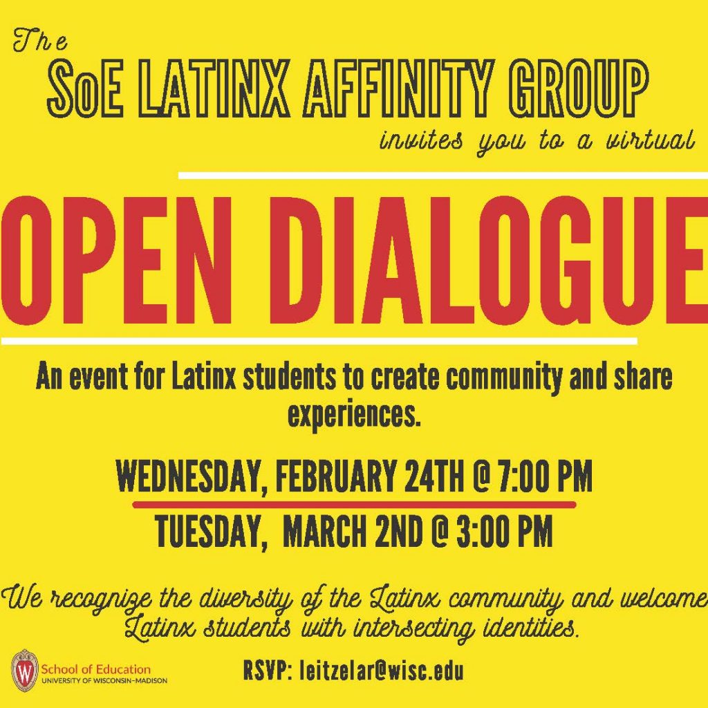 Latinx Affinity Group Open Dialogue flyer